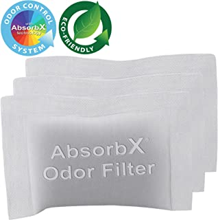 iTouchless 3-Pack AbsorbX Odor Filter for Trash Cans and Compost Bins, Absorbs Compost Odors, All Natural Activated Carbon