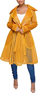 Women's Outwear Jacket Sheer Mesh Trench Coats Swing Coats with Belt