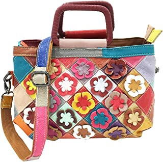 Heshe Women's Hobo Leather Shoulder Bags Handbags Ladies Purse with Flower Summer Style