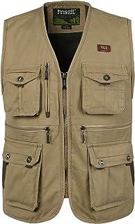 KTWOLEN Heren Outdoor Vest katoen Visvest Ademend Fotografie Vesten Camping Jacht Vest met meerdere zakken
