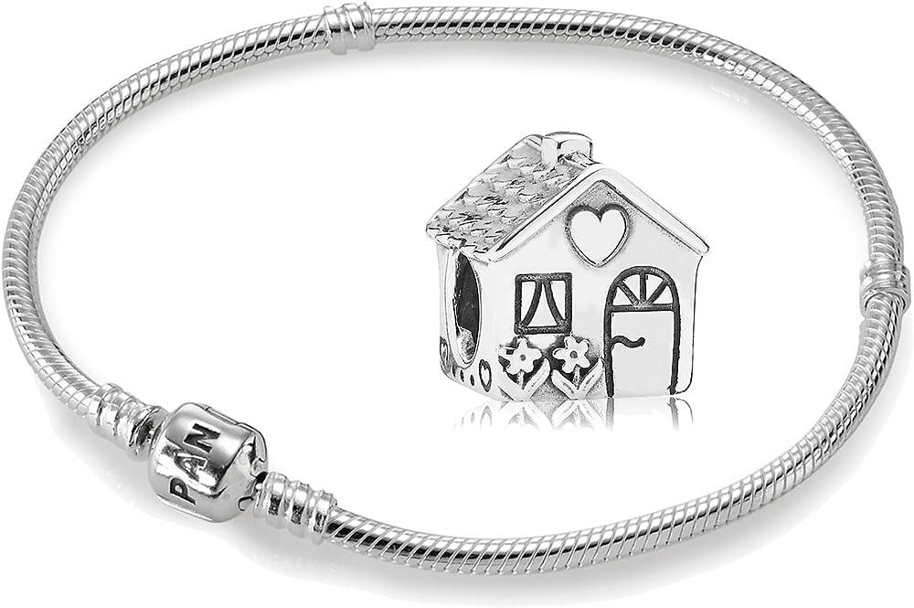 Pandora bracciale da donna  con maglia snake in  argento sterling 925,e charme a forma di casetta 590702HV