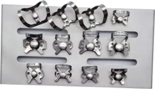 Rubber Dam Clamps Set of 12 with autoclavable mounting Stand Rack by ARTMAN