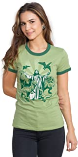 Headline Shirts Jesus and The Dinosaurs Funny Graphic Screen Printed Crewneck T-Shirt for Women