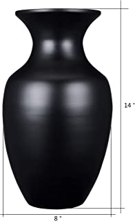 """VILLACERA Handcrafted 14"""" Tall Black Glazed Urn Vase for Silk Plants, Flowers, Filler Decor 
