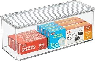 mDesign organiseur bureau pour ranger stylos, bloc-notes, etc. – boite de rangement en plastique sans BPA – boite avec cou...