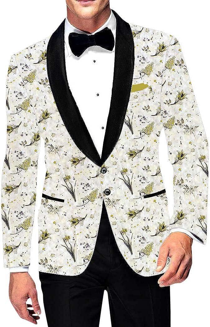 INMONARCH Mens Slim fit Casual Cream Printed Cotton Blazer Sport Jacket Coat Wedding SB18175