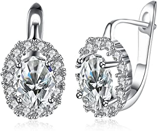 18K White Gold Plated Cubic Zirconia Flower Hoop Earrings for Women Girls Small Hoop Earrings Stud Fashion Earrings