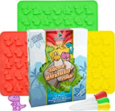 Dinosaur Gummy Bear Mold Silicone 3 Pack - Bonus 3 Droppers + Recipe Pdf - Non - Bpa Large Gummie Candy Chocolate Molds – Bigger Gummies – Ice Cube Dinosaurs - Gelatin Trays Set