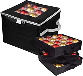 ProPik Christmas Ornament Storage Box, Organizer Holds Up to 48 Xmas Balls with 3 Separate Removable Trays, Container has Dividers to Organize Holiday Tree Ornaments (Black)