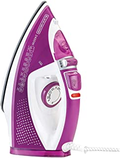 Black+Decker 2400W Steam Iron with Auto Shutoff and Ceramic Soleplate, Magenta - X2450-B5, 2 Years Warranty