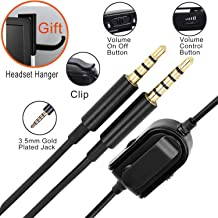 A10 A40 Replacement Cable Inline Mute Volume Control with Microphone for Astro A10 A30 A40 A50 Headsets Cord Lead Compatible with Xbox One Play Station 4 PS4 Headphone Audio Extension Cable 6.5 Feet