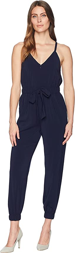 Crepe Strappy Jumpsuit with Elastic Legs and Tie Waist