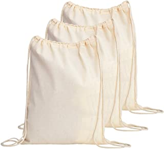 20b620b8636e TBF Cotton Drawstring Backpack String Gym Sack Bag Canvas Cinch Sack Sport  Cinch Pack Backpack Rucksack for Men, Women, Kid, School, Travel (Natural,  ...