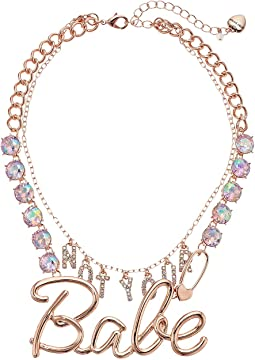 "Betsey Johnson Rose Gold ""Not Your Babe"" Statement Necklace"