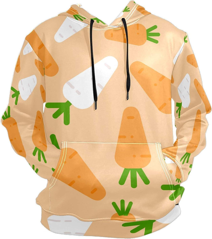White Radish Carrots Mens Sport Hoodie Big and Tall Hoodies for Men Women Oversized Hooded Sweatshirt Hip Hop Pullover Hoodie Midweight Hood for Boys Girls