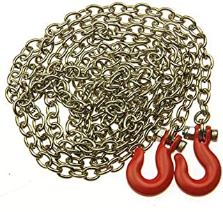 MOHERO 1:10 89cm Alloy Chain with with Hooks for SCX10 AX10 RC Crawler Truck Accessory Pack of 1 (Red)