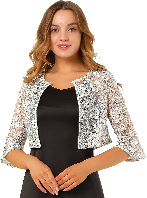 Allegra K Women's Crop Cardigan Bell Sleeve Sheer Floral Lace Shrug Top