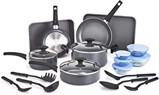 BELLA 21 Piece Cook Bake and Store Set, Kitchen Essentials for First or New Apartment, Assorted Non Stick Cookware, 9 Nylo...