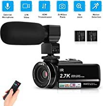"""Video Camera Camcorder 2.7K Full HD Vlogging Camera for YouTube WiFi 3.0"""" IPS Touch Screen IR Night Vision 16X Digital Zoom Recorder with Microphone, HDMI Cable and 2 Batteries"""