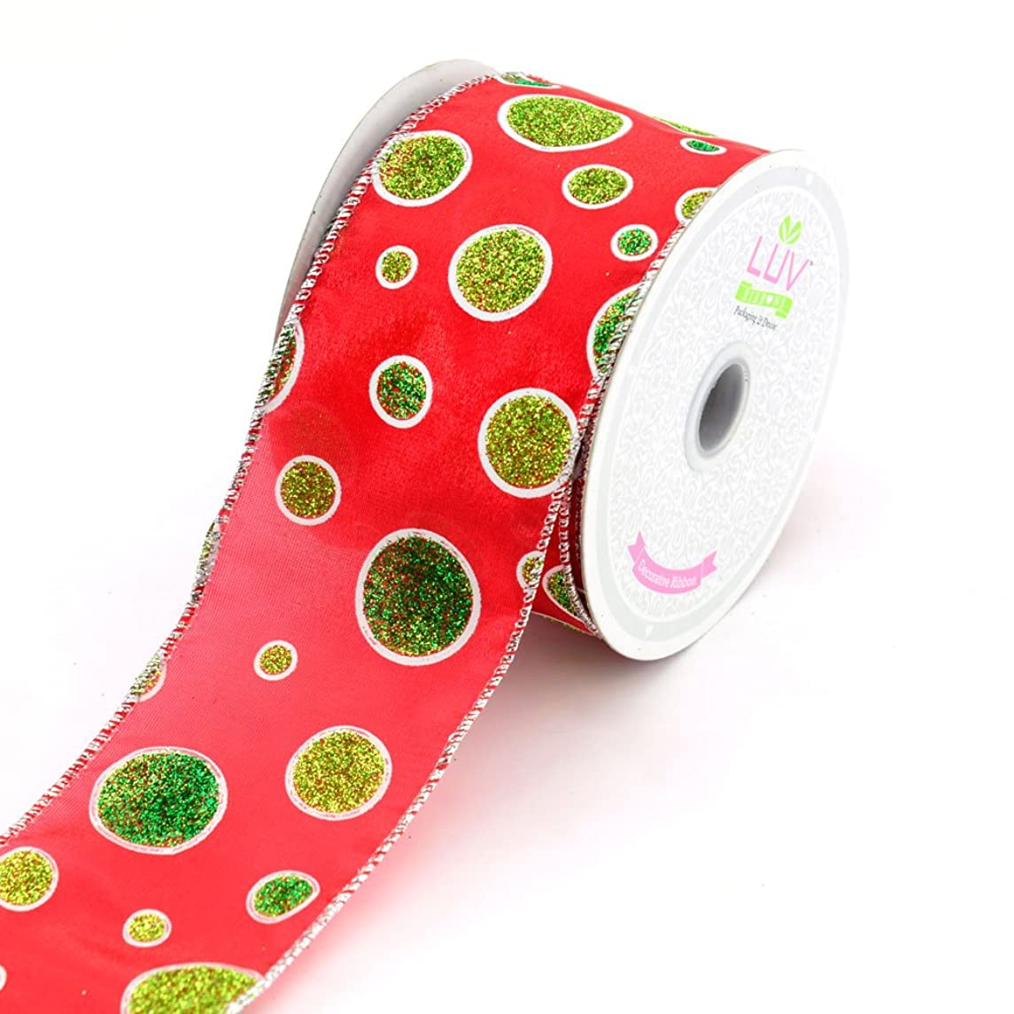 LUV RIBBONS by Creative Ideas 2-1/2-Inch Polyester Glitter Dots Ribbon, 10-Yard, Red