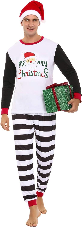 Aibrou Weihnachten Schlafanzug Familien Pyjama Set Langarm Homewear Zweiteiliger Cartoon-Muster Nachtw/äsche Outfit Set f/ür Mutter Vater Kinder