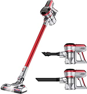 Hosome Cordless Vacuum Cleaner 4 in 1 Upright Powerful 140W Handheld Stick Vacuum Cleaner with LED, Rechargeable Cordless ...