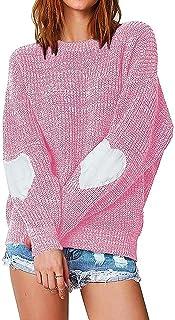 Minetom Otoño e Invierno Mujeres Cuello Redondo Suéter Jerseys Puntadas Manga Larga Patrón en Forma de Corazón Punto Jersé...