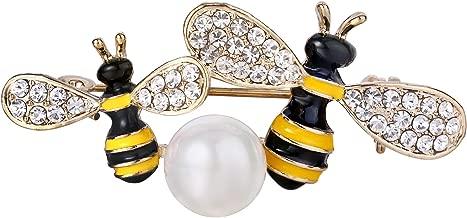 tenye esmalte Crystal blanco perla simulada de la mujer miel abeja par insectos broche claro tono dorado