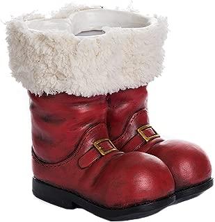 Transpac Imports Resin Santa Boot Planter, Red