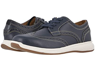 Florsheim Kids Great Lakes Wing Tip Ox Jr. (Toddler/Little Kid/Big Kid) (Navy Milled Leather/White Sole) Boy