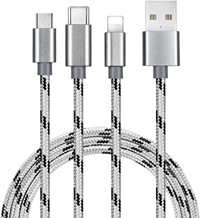 5FT Multi Charging Cable 2Pack Bolatus M-Series 3 in 1 Multiple Device Phone Connector USB Universal Charger Cord Adapter Compatible with Cell Phone Tablets More (Silver, 5FT2Pack)
