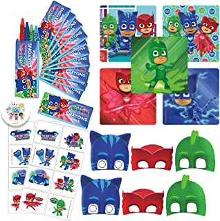 PJ Masks Birthday Party Favor Pack with Crayons, Stickers, Tattoos, Masks, and Exclusive Birthday Pin by Another Dream