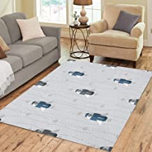 Semtomn Area Rug 2' X 3' Astronomy Planet Space Pattern Rockets and Silver Star Dot Home Decor Collection Floor Rugs Carpet for Living Room Bedroom Dining Room