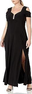 R&M Richards Women's Plus Size Missy One Piece Cold Shoulder Long Dress