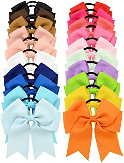20Pcs Large Baby Girls Hair Ties Ponytail Holders Set with Jumbo Cheer Bows
