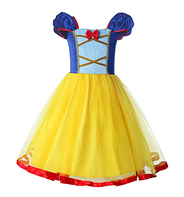 ReliBeauty Little Girls Elastic Waist Backless Princess Snow White Dress Costume