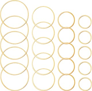 Rbenxia 100pcs Gold Earrings Beading Hoop Round Earring Backs Circle Earring Charms Bezel Pendant Frame for DIY Crafts Jew...