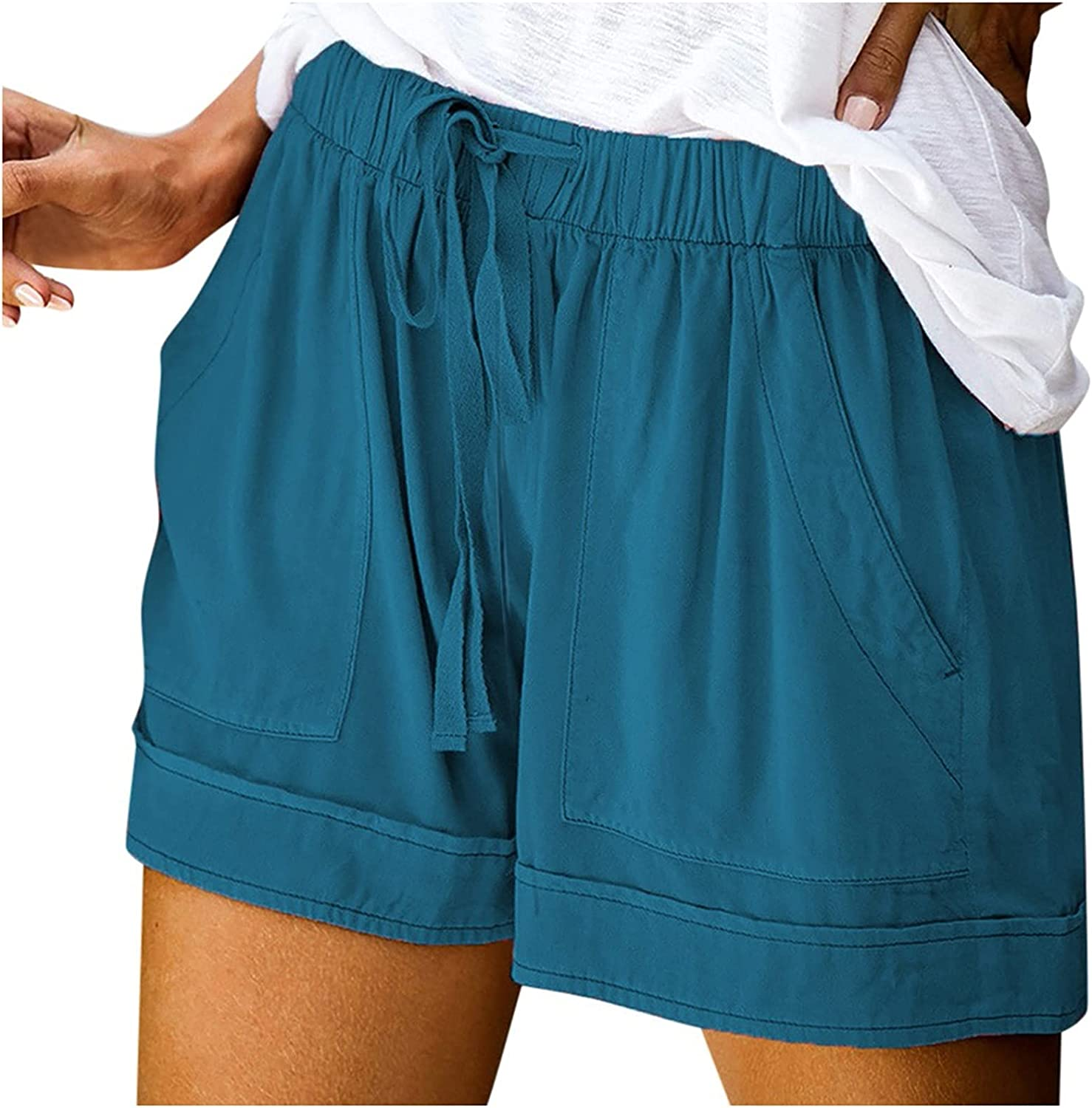 UBST Womens Summer Casual Drawstring Elastic Waist Comfy Lounge Shorts Pure Color Athletic Workout Shorts with Pockets
