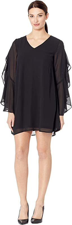 Poppy V-Neck Ruffle Sleeve Dress