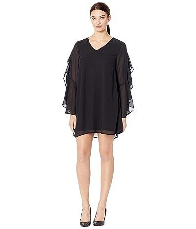 American Rose Poppy V-Neck Ruffle Sleeve Dress (Black) Women