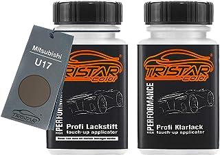 TRISTARcolor Autolack Lackstift Set für Mitsubishi U17 Titanium Grey Metallic/Mercury Gray Metallic Basislack Klarlack je 50ml