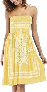 Women's Strapless Floral Bohemian Casual Mini Beach Dress Cover-ups Dress