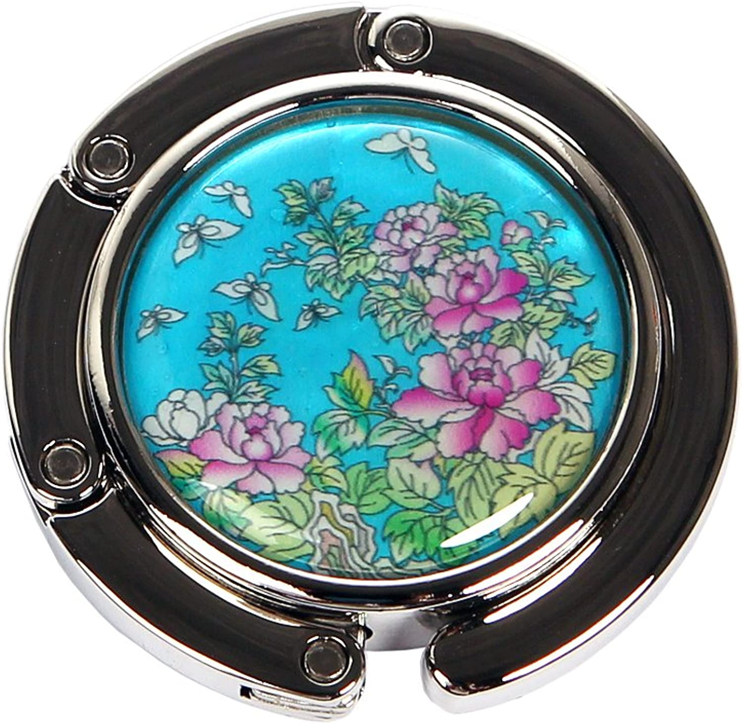 Nacre Inlay Mother of Pearl bluee Red Yellow Peony Flower Design Foldable Table Purse Caddy Portable Handbag Holder Hanger