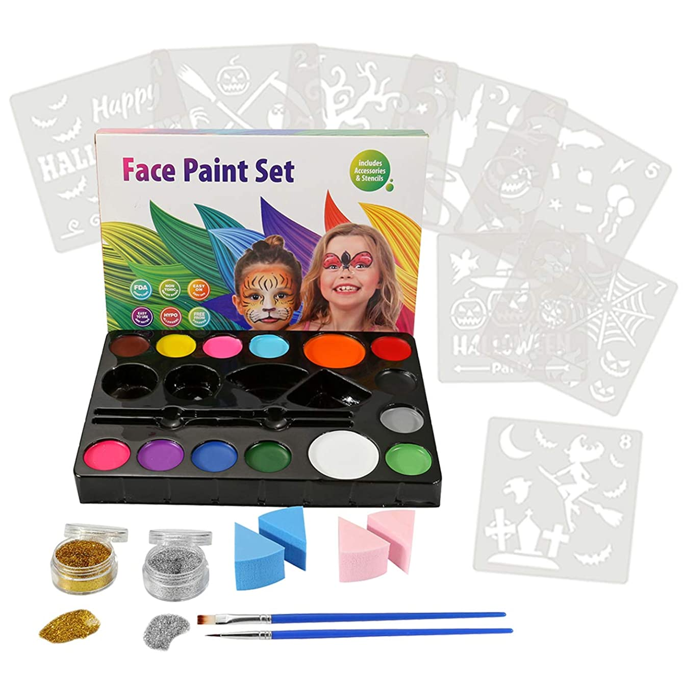 CCbeauty Art Face Painting Kit for Kids Adults, 14 Colors Professional Face & Body Paints,8 Halloween Pack Stencils 2 Brushes 4 Sponges 2 Glitters usgaht313164