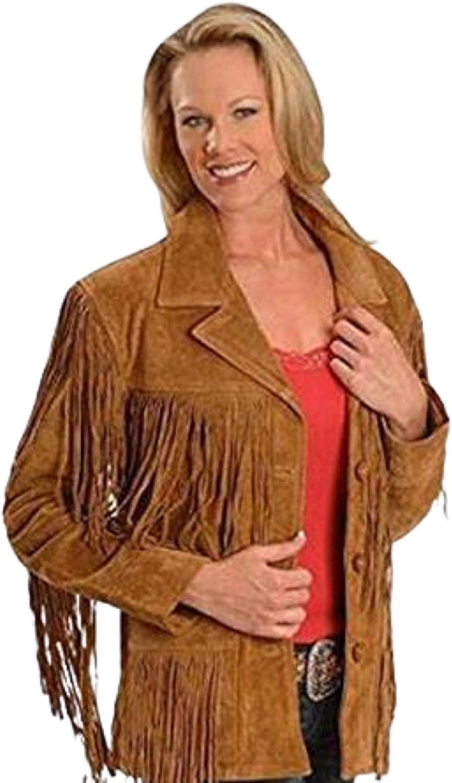 TOM JACK Leather Fringe Brown Suede Jacket For Women And Girls