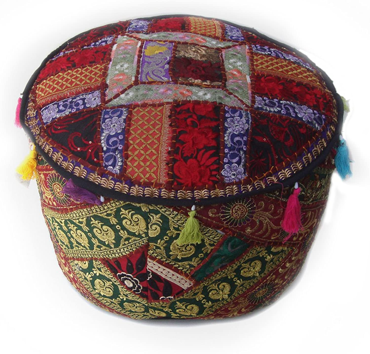 Kutch Assorted Recycled Polycotton Embroidered Patchwork Empty Pouf Cover