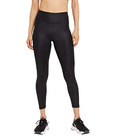 Nike One Mid-Rise 7/8 Faux Leather Tights (Black/Smoke Grey) Women