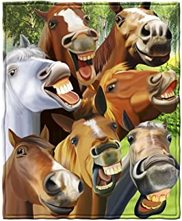 Dawhud Direct Horses Selfie Super Soft Plush Fleece Throw Blanket