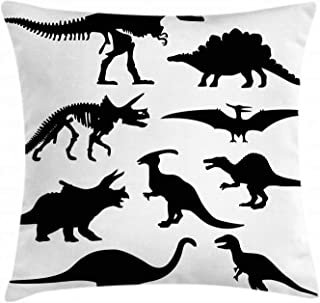 Ambesonne Dinosaur Throw Pillow Cushion Cover, Prehistoric Skeleton Bone Black Silhouettes of Different Wild Dinosaurs, Decorative Square Accent Pillow Case, 16