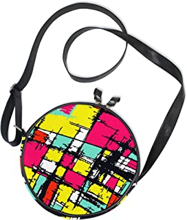 Ahomy Damen-Umhängetasche, rund, abstrakt, Graffiti, bunt, Street Art, Kreis, Handy, Mini-Kuriertasche, Geldbörse
